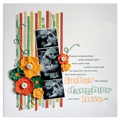 love the strip of photos and the strips of paper in the background of this LO by Lisa Dickinson of Lily Bee
