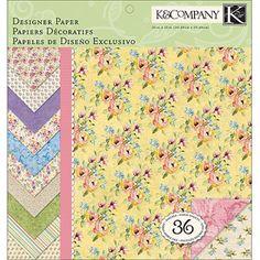 """K Watercolor Bouquet Designer Paper Pad, 12"""" x 12"""", 36 Sheets"""