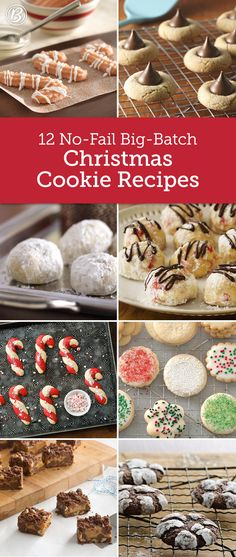 12 No-Fail Big-Batch Christmas Cookie Recipes - Making Christmas cookies for a crowd or hosting a holiday cookie exchange? These easy big-batch recipes mean more cookies and less work! Christmas Deserts, Noel Christmas, Holiday Desserts, Holiday Baking, Holiday Treats, Christmas Parties, Christmas Goodies, Christmas Christmas, Easy Christmas Baking Recipes