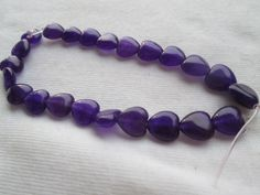 "9""--Genuine Amethyst 10mm Heart Shaped Loose Beads-- 1/2 ++ Strand-- 23 beads"