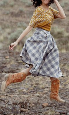 Western belle. Gingham wool midi skirt, mustard Aztec print sweater, cowboy boots