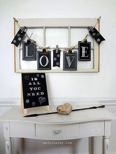 maybe put easel sign in shop--Chalkboard Clipboard Banner by Made In A Day