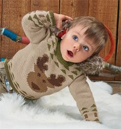 Bergere de France Babies Knitting Patterns Jacquard Sweater Pattern