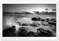Sea Black And White Image HD Wide Wallpaper for Widescreen