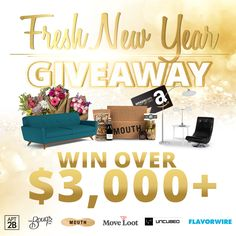 Enter to win the Fresh New Year Giveaway from @Apt2B, @thebouqs, @mouthfoods, @moveloot, @uncubed, and @Flavorwire!!