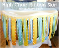No Sew High Chair Ribbon Skirt  Perfect for boys as is, or add a few flowers and bows and it would be great for a little girl's #first #birthday!