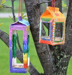 mangeoire oiseaux diy idée boite carton jardin