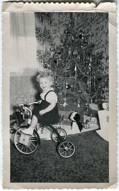 1940s Vintage Photo Curly Hair Girl by Tinsel Christmas Tree on Tricycle Present   eBay