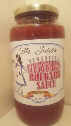 Ms. Julie's delectable and tasty European sauce, Strawberry Rhubarb Sauce, makes for fabulous tasting recipes such as delectable and elegant scones, pretty pink macaroons, shortbread tarts or jelly fo