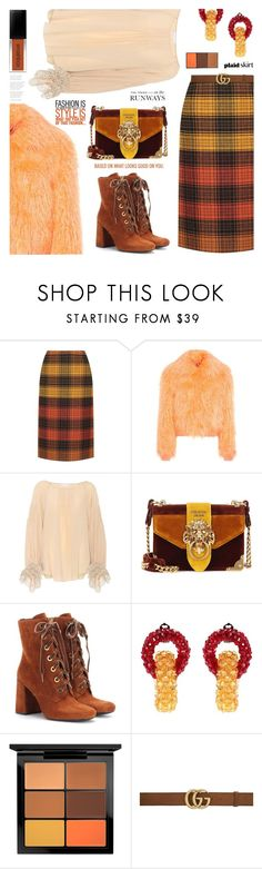 """What looks good on you."" by jan31 on Polyvore featuring Bottega Veneta, Sies Marjan, Chloé, Prada, Attico, MAC Cosmetics, Gucci, plaid, polyvoreeditorial and autumncolours"