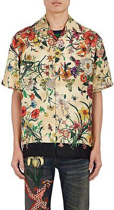 972dcad517a Gucci Men s Flora Snake Silk Bowling Shirt Bowling Shirts