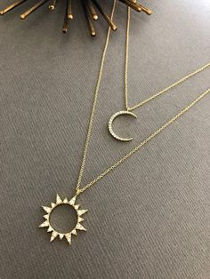 Celestial Sun & Moon Necklace Sun necklace Moon necklace Moon and Sun Dainty Minimalist Jewelry Moon and sun gift for her Cute Jewelry, Boho Jewelry, Jewelry Box, Jewelery, Jewelry Accessories, Jewelry Necklaces, Fashion Jewelry, Gold Bracelets, Diamond Earrings