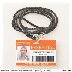 Essential | Modern Employee Photo ID Badge Registered Nurse Rn, Rn Nurse, Emergency Medical Technician, Nursing Accessories, Id Badge, Diy Face Mask, Mask For Kids, Money, Design
