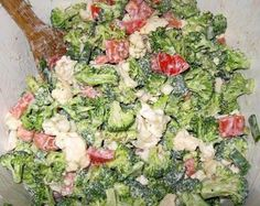 """I've got people STILL asking me for the SKINNY BROCCOLI SALAD recipe....so here it is again. Please don't forget to click on the word """"share"""" below this post so it will end up on your facebook page so you won't lose it. SKINNY BROCCOLI SALAD 2 stalk(s) uncooked broccoli, Chopped 1 head(s) (medium) uncooked cauliflower, Chopped 1/2 cup(s) sweet red pepper(s), Chopped 1/2 cup(s) green pepper(s), Chopped 1 large fresh tomato(es), chopped 1/2 large uncooked red onion(s), Chopped 1 ..."""