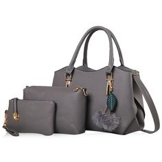 44179d8107 Pom Pom Pendant 3 Pieces Handbag Set. USD. RoseWholesale - Rosewholesale  Tote ...