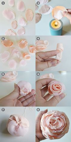 Making Fabric Flowers Fabric Roses Paper Flowers Diy Flower Making Fabric Art How To Make Ribbon How To Make Rose Material Flowers Flower Crafts Easy Fabric Flowers, Fabric Flower Pins, Cloth Flowers, Fabric Roses, Diy Flowers, Paper Flowers, Satin Flowers, Headband Flowers, Fabric Flower Headbands