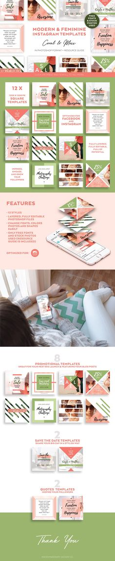 Modern Instagram Templates. Streamline your social media with easy to use graphic kit. Perfect for Instagram and other social media. $12 https://crmrkt.com/D2Pe1 #ad