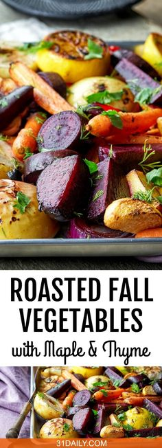 Roasted Fall Vegetables with Maple, Thyme, and Apple, an easy and simple dish to prepare, perfectly suited for the season. Side Dish Recipes, Veggie Recipes, Fall Recipes, Vegetarian Recipes, Cooking Recipes, Healthy Recipes, Autumn Vegetable Recipes, Christmas Vegetable Recipes, Pasta Recipes