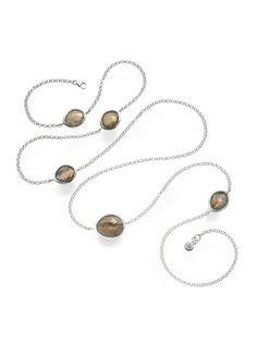 Monica Vinader  Silver & Labradorite Nugget Long Necklace