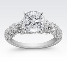 Side Swirl Vintage Diamond Engagement Ring with Pavé Setting with Cushion Cut Diamond from Shane Co.