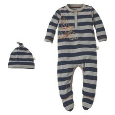 Burts Bees Baby™ Newborn Boys' Striped Bee Henley Coverall and Hat Set - Grey