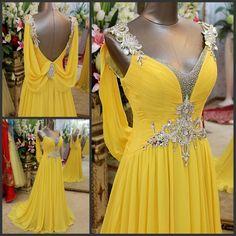 Vestido De Noiva Evening Dresses Backless Crystal Yellow Formal Robe De Soiree Long Chiffon Gowns New 2014