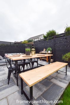 Garden Patio Area makeover, custom built black wooden privacy screen, grey slabbed area. Garden Slabs, Fence Lighting, Large Planters, Amazing Spaces, Al Fresco Dining, Diy Patio, Modern Spaces, Decking, Beautiful Space