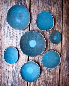 Series of turquoise on chocolate stoneware bowls.  Photo by: @winkylewis @stopherethisistheplace #wwllt #handmadeceramics #turquoise