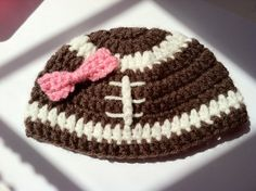 Baby Girl Football Crochet Hat by BrightCrochet on Etsy