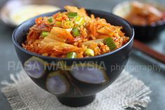 Kimchi arroz frito | Kimchi frito Receta de Arroz | Recetas fáciles asiáticos en RasaMalaysia.com