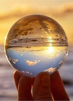 Sunset reflected in a glass sphere. Glass Photography, Reflection Photography, Macro Photography, Creative Photography, Amazing Photography, Landscape Photography, Photography Ideas, Cool Pictures, Beautiful Pictures