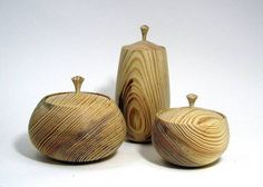 """Three boxes from Ponderosa Pine. Tallest is about 8"""" tall, widest is about 6"""" wide."""