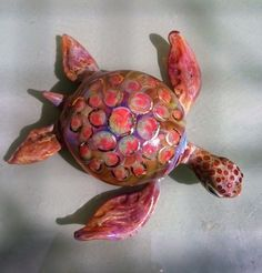 Great Barrier Reef Blown Glass Turtle with 22K Gold by RayMifsud