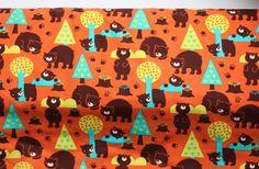 Lillestoff Organic Jersey in Bears Orange by BizzyandBooFabrics