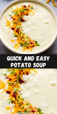 The easiest potato soup recipe! Made with only 6-ingredients and requires no roux. It's creamy, thick, and so satisfying. Veggie Soup Recipes, Slow Cooker Recipes, Cooking Recipes, Tasty, Yummy Food, Quick Dinner Recipes, Potato Soup, Pinterest Recipes, Chowders