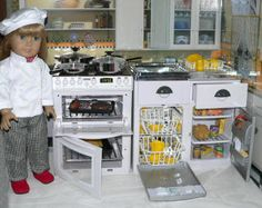 """18"""" ( American girl type doll) kitchen*  love the american girl sized stove that lights up and all.  Mini fridge not so crazy about however"""
