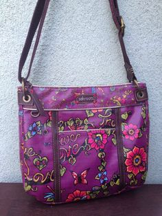 New The Sak Roots Berry True Love Coated Canvas Crossbody Shoulder Bag
