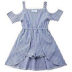 Ma&Baby Princess Kids Baby Girls Off Shoulder Blue Striped Dress Outfits Clothes Yrs Years) Striped Dress Outfit, Summer Dress Outfits, Frocks For Girls, Dresses Kids Girl, Toddler Outfits, Kids Outfits, Baby Dress Patterns, Outfit Sets, Girl Fashion