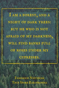 """I am a forest, and a night of dark trees: but he who is not afraid of my darkness, will find banks full of roses under my cypresses."" ― Friedrich Nietzsche, Thus Spoke Zarathustra. Click on this image to see the biggest collection of famous quotes on the net!"