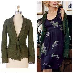 """Anthropologie """"organ pipe sweater"""" Long notes of jagged crochet-lace play over the edges of Sparrow's tie-front cardigan. Acrylic, merino, alpaca, polyester, cotton Dry clean 20""""L Armpit to armpit laying flat when tied is 19 Imported Style No. 71430 Anthropologie Sweaters Cardigans"""