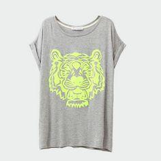 T-Shirt Loose Tiger Gris