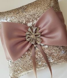 Wedding Ring Pillow in Latte Fabric with Vintage Look Rhinestone Center