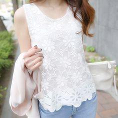 6.72$  Buy here - 6XL Women Blouse Shirt Femininas 2017 Summer Fashion Woman Lace Elegant Sleeveless Blusas Crochet Casual Shirts Tops Plus Size   #magazine