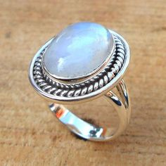 Rainbow Moonstone Ring - Sterling Silver Ring - Handmade Ring - Gemstone Ring - Semi-Precious Stone Ring - Cocktail Ring - Artisan Ring