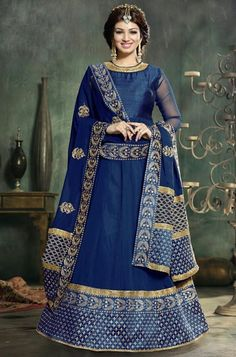 Gota Patti Work Blue Georgette Anarkali Suit With Chiffon Dupatta @mokshafashions  Take a cue from our Bollywood divas and we guarantee you'll look as fab!!!  View More --- http://goo.gl/0CkSDA