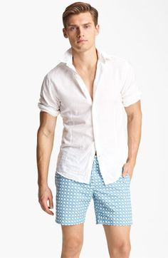 Orlebar Brown 'Fleming' Linen Blend Shirt and Bulldog wicker swim trunks #mensfashion