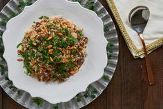 """""""stuffing"""") is a classic Levantine dish made with ground lamb and rice, seasoned with sweet spices such as allspice, cinnamon and nutmeg. Lebanese Rice Recipe, Rice Stuffing, Sweet Spice, Ground Lamb, Middle Eastern Recipes, Rice Recipes, Japchae, Sweet Home, Risotto"""