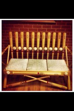 Cute bench made of all baseball equipment!