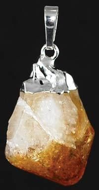 """Citrine is a beautiful crystal, popular in jewelry and said to help energize those who wear it. Here the raw stone is set upon a large bail to create a beautiful pendant. No cord. 12-34"""""""