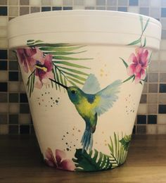 Hummingbird colourful decoupaged flower pot Tropical Garden gift gift for her gift for him birthday present idea thank you gift